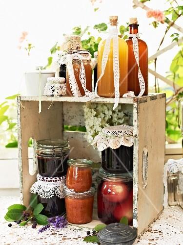 Various jams, chutneys and syrup