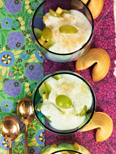 Fruit yoghurt and fortune cookies