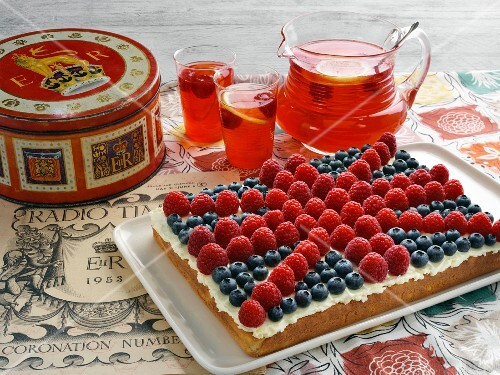 A Union Jack cake with fresh berries