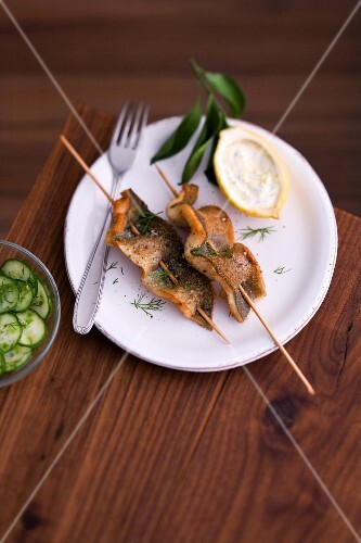 Trout skewers with cucumber salad