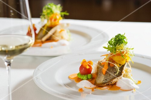 Fresh water fish fillets with vegetables and soy foam
