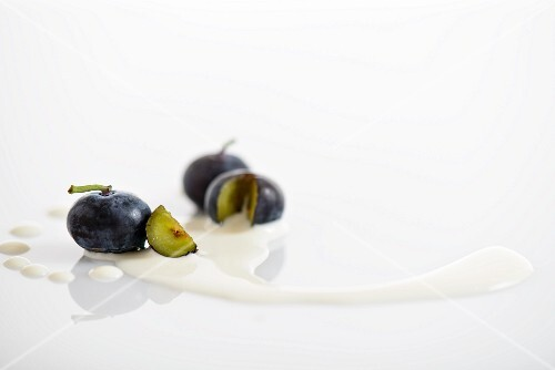 Blueberries with milk