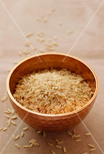 Rice in a metal bowl