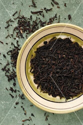 A bowl of Earl Grey tealeaves