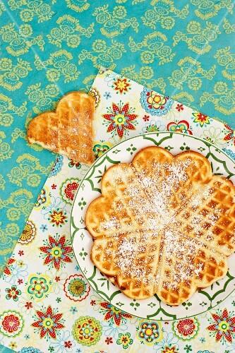 Waffles with icing sugar