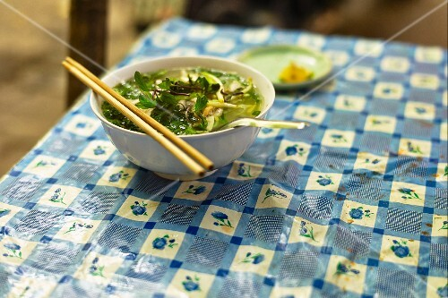 A bowl of Pho ga (Vietnamese chicken soup)