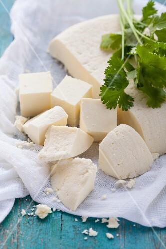Paneer cheese, sliced