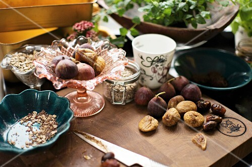 Various ingredients for an energy-rich breakfast in a kitchen