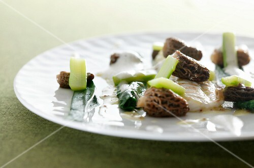 Sole fillet with morel mushrooms