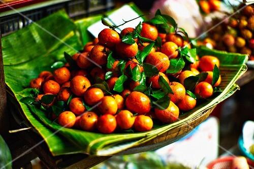 Clementines at a market in Saigon (Vietnam)