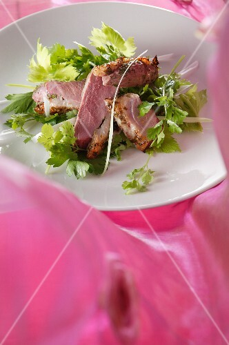 Medium rare duck breast on a bed of celery salad