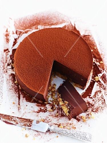 Chocolate ganache cake, sliced