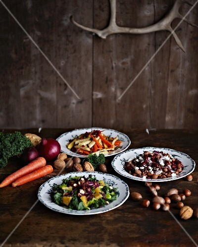 Three different winter salads with beans, root vegetables and kale