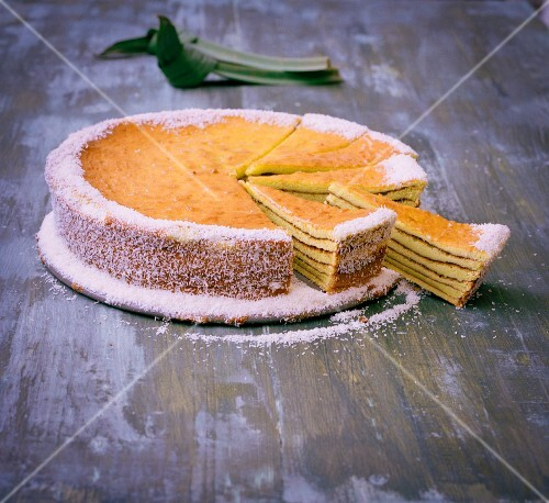 Pandan layer cake with coconut and pineapple jam