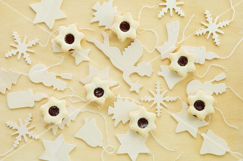 Christmas cookies with wooden tree decorations