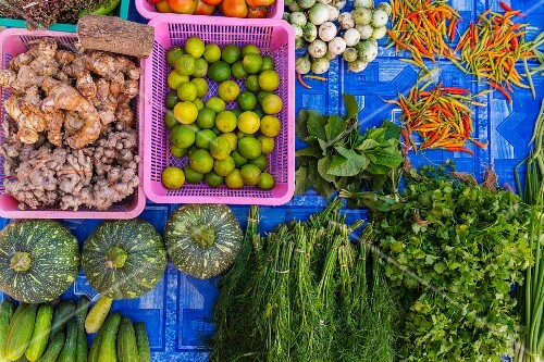 Vegetables and herbs at a market, Laos