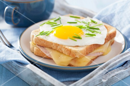 A Croque Madame sandwich