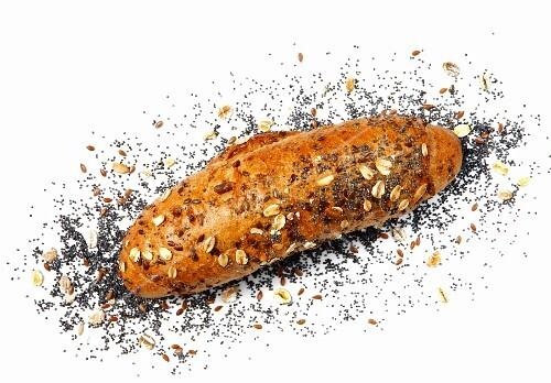 A tri-corn baguette roll