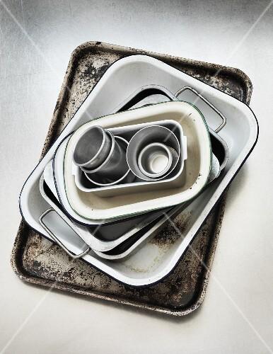 Various baking tins and dishes