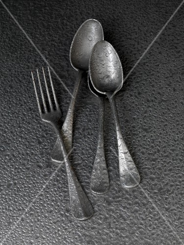 Old spoons and a fork