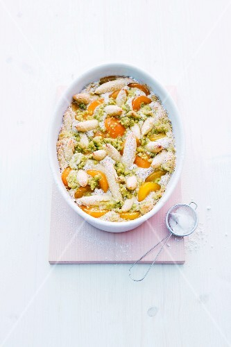 Sweet potato orzo pasta bake with apricots and pistachios