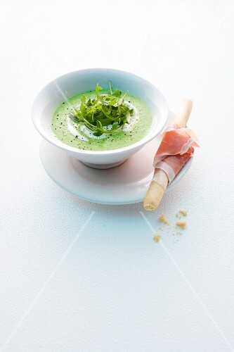 Pea and rocket soup with a ham-wrapped grissini
