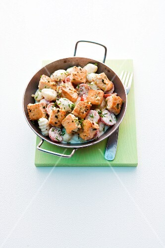 Salmon gnocchi with chives