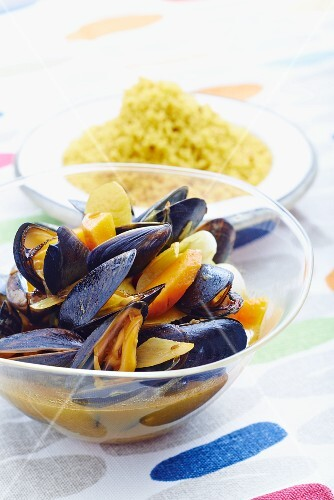 Mussel tagine with a side of rice