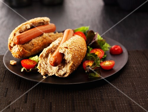 Hot dogs in wholemeal rolls