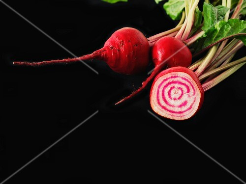 Beetroot against a black background