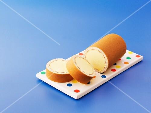 A vanilla ice cream Swiss roll