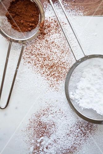 Cocoa and icing sugar