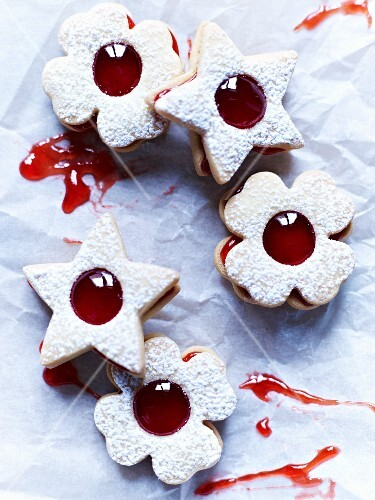 Jammy shortbread biscuits with red jam