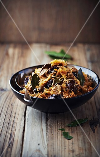 Bigos (sauerkraut with wild mushrooms, meat and dried plums, Poland)