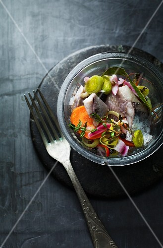 Herring salad with vegetables