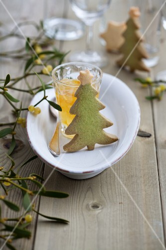 Christmas tree biscuits, kumquat jam and a sprig of mistletoe
