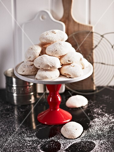 Vanilla macaroons on a cake stand