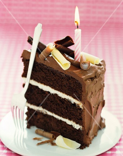 A slice of chocolate cake with a birthday candle