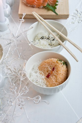Rice balls (Onigiri) filled with salmon and pepper (Christmas)