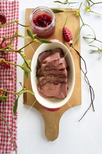 Roast beef with cranberries