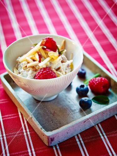 Bircher muesli with fresh berries and apple