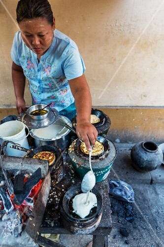 Pancakes being made at a market in Myanmar