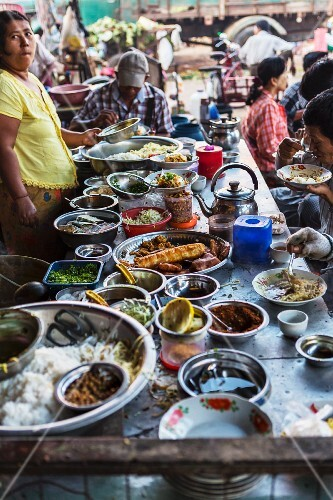 A noodle bar at a market in Myanmar