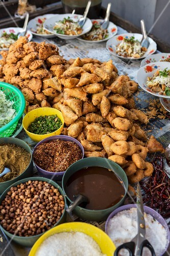 Street food at a market in Myanmar
