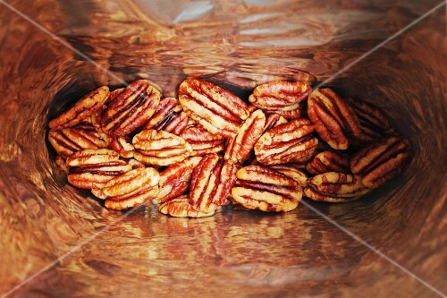 A bag of pecan nuts (seen from above)