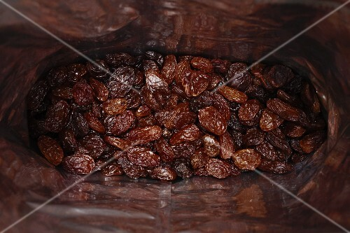 A bag of raisins (seen from above)