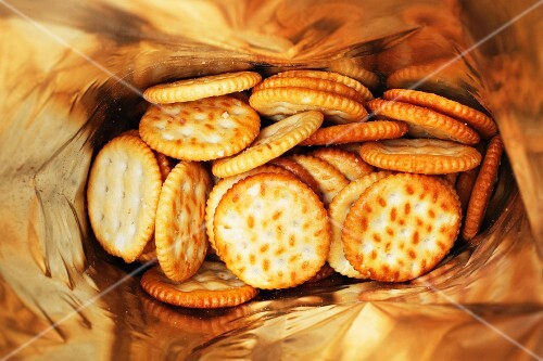 A bag of salted crackers (seen from above)