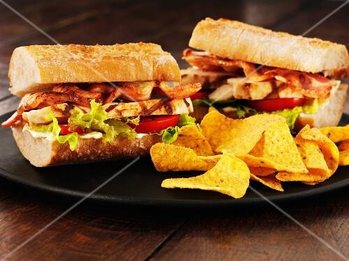 Ciabatta club sandwiches with tortilla crisps