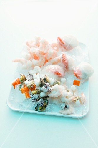 Various types of frozen seafood