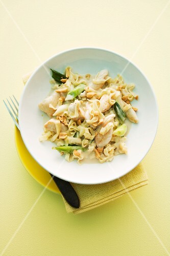 Stir-fried noodles with chicken, coconut milk and peanuts